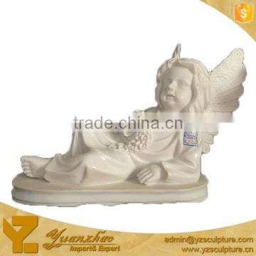 life size religious carved marble siting angel child statue