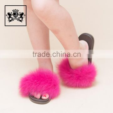 Modern design hot selling kids fox fur pvc slide sandals girls real pink fur slipper