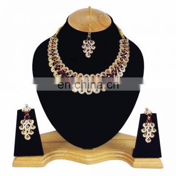 Designer Gold Plated Indian Handmade Party wear Kundan Zerconic Necklace set Dark Red Color