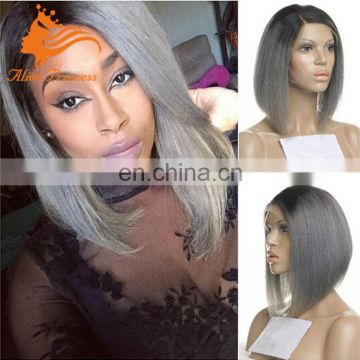 Short Style Grey Hair Lace Wig Ombre Two Tone Color Virgin Peruvian Human Hair Silky Straight Lace Front Bob Wig With Baby Hair