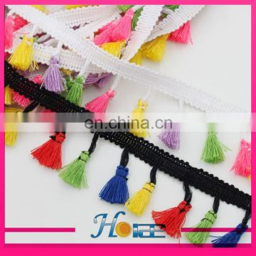 22mm width white and black color tassel fringe chain trimming