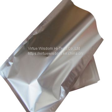 High barrier aluminum foil laminated flexible three side seal pouch plain flat pouch snack food packaging bag