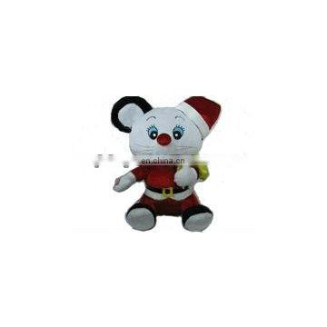 Plush mouse toy in garment Christmas mouse toy with red christmas hat