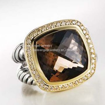 Sterling Silver Women DY 14mm gold Smoky Quartz Albion Ring