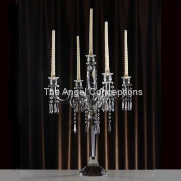 crystal glass clear candelabra with five arms for home decoration