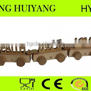 hot sale unfinished factory wooden alphabet train letters