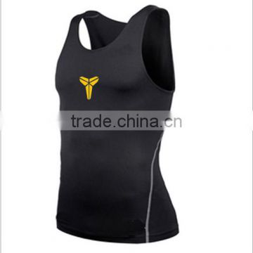 2016 hot sale mens sports vest gym vest dry fit and slimfit H Vest for muscle men with good quality