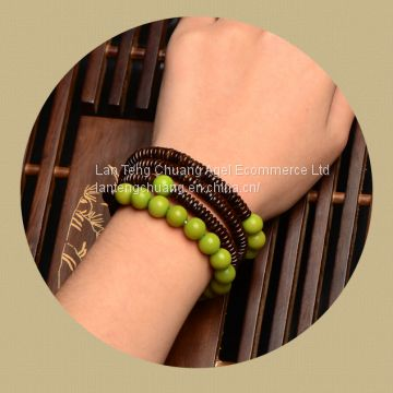 Art personality linden wood bracelets multi ring beads long Vintage folk style