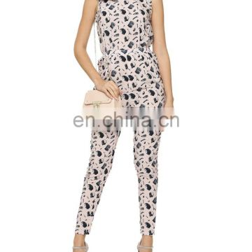 Anthracite Print sleeveless long Jumpsuit for women