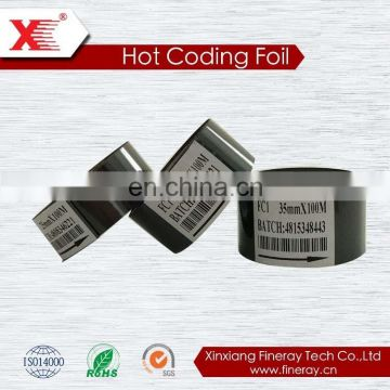 transparent hot stamping foil/hot thermal transfer foil for printing expiration date FC3 type 30mm*100m size