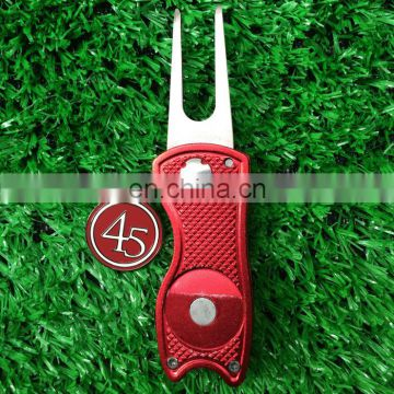 large switchblade golf divot tool ball marker / custom switch divot tools