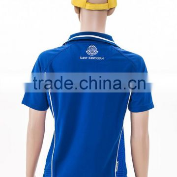 blue color contrast collar sport polo shirt