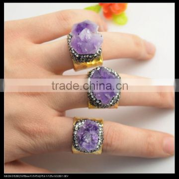 LFD-0016R ~Fashion Jewelry Gold Plated Nature Amethyst Quartz Rings, Crystal Rhinestone Paved Gems Druzy Ring Adjustable Size