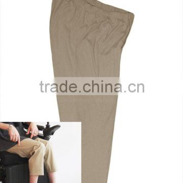 unisex wheelchair sitting pants with higher cutting back and lower cutting front