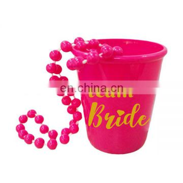 bachelorette party personalized plastic beaded necklace shot glasses