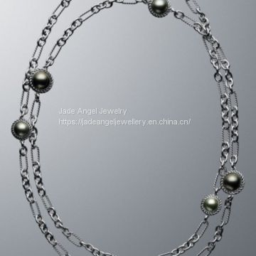 DY Inspired Sterling Silver White Pearl Wrap Chain Necklace