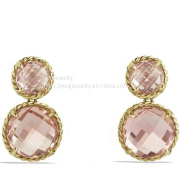 Gold Plated Chatelaine Mini Double-Drop Earrings with Morganite(E-038)