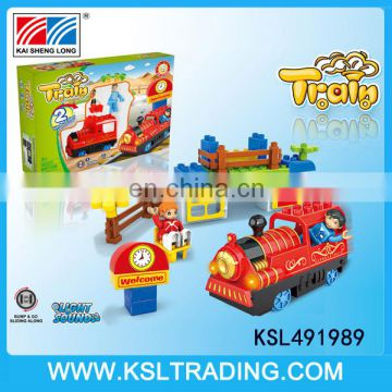 Electric bump and go train toy with blocks for children