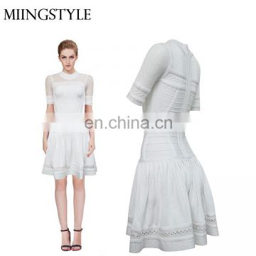 New Arrival Brand Custom Wholesale Summer Casual Dress bandage middle aged women fashion Plain Dress Design
