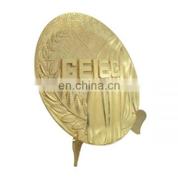 custom zinc alloy plated gold metal logo plate for souvenir