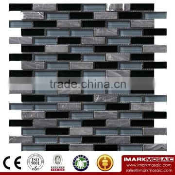 IMARK Mixed Color Crystal Glass Mix Marble Mosaic Tiles for Wall Decoration and Backsplash Code IXGM8-057