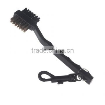 Dual Bristles Golf Club Brush Cleaner Ball 2 Way Cleaning Clip Groove Lightweight Portable