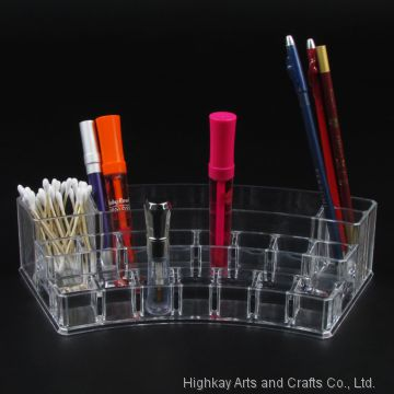 Clear View Acrylic Crescent Eyebrow Pencil Lipstick Display Stand Holder Box Makeup Cosmetics Organizer 19 Compartments