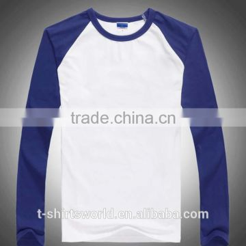 OEM Ladies Plain Dyed Two Color Baseball Full Sleeve Raglan Cotton Jersey T-shirts