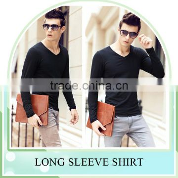 New fashion Slim fit T Shirt for men ,tight V Neck long sleeves shirt manufacturer