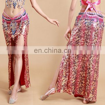 Tribal egyptian leopard ice silk sexy belly dance long skirt Q-6035#