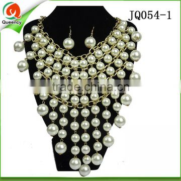 2016 high quality african jewelry sets beige beaded necklace fashion pearls necklace for wedding party
