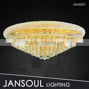 Classic round gold crystal ceiling flush mount light