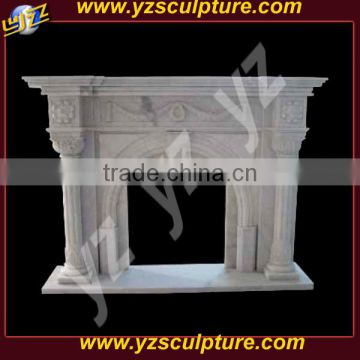 indoor french style cream marble fireplace mantel with fairies
