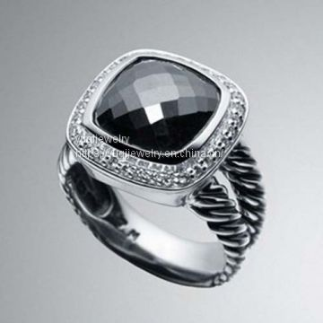 925 Silver Jewelry 11mm Hematite Albion Ring(R-067)