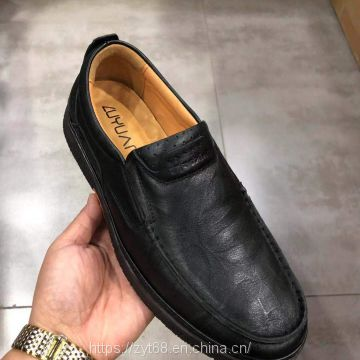 Classic style High Quality Genuine OEM Leather handmade  men's  leisure shoes