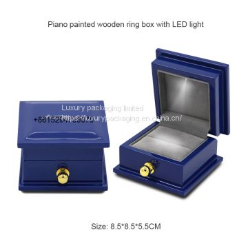 Professional supplier custom small beautiful luxury  piano painted blue wooden wedding ring box with LED light