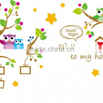 Cute Mural Wall Stickers Decal Owl Birds Branch Removable Decor Kids Baby Room wall sticker photo frame