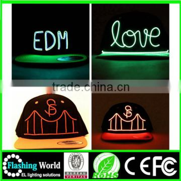 bright in colour OEM/ODM el wire hat