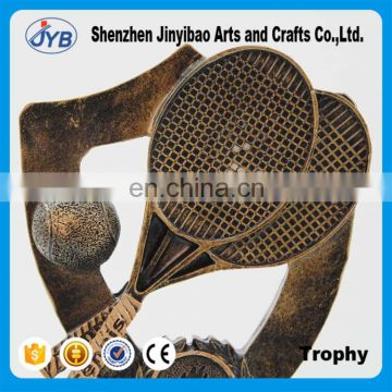 China supplier resin tennis racket and ball trophy for decoration