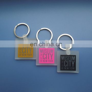 square shape embossed logo The Museum City Of New York transparent clear soft rubber pvc keychain souvenir decoration
