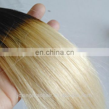 New arrival Short Hair Style 12inch Ombre Black Roots Blonde Brazilian Human Hair Weave Bundles