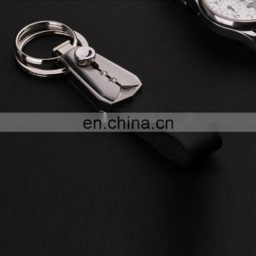 2016 New design push button leather key chains with decorative rhinestones