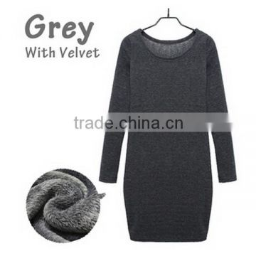 Alibaba China Winter Casual Women Long Sleeve Round Neck Warm Office Pullover Fashion Elegant Knit Sweater Dress With Velvet