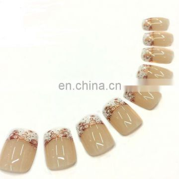 Full Cover Custom Design French Style Nail Tips Artificial Fake Nails