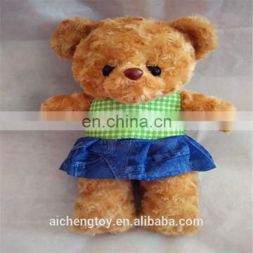dongguan factory custom high quality blue jeans material joint teddy bear toy