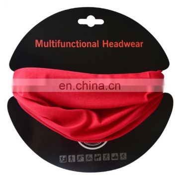 High quality polyester 100% direct factory supply pure color magic seamless mutifunctional bandanas headwear with custom logo