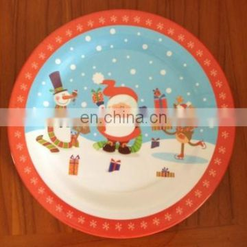 Hot selling melamine plate with snowman printing (melamine dishware ,melamine ware,melaminetableware )