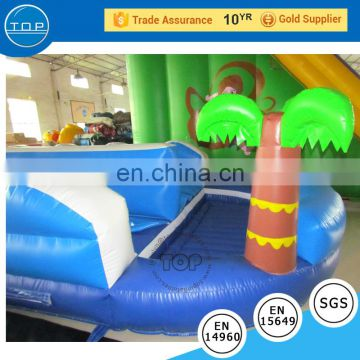 Car theme large inflatable slide city good quality PVC funny inflatable slip slide with pool