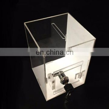 Tall clear pmma plexiglass donation box tall acrylic display case