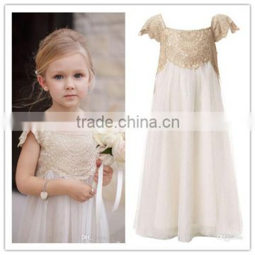 Cheap pageant dresses for little girls champagne lace ivory tulle flowers girl kids A-line princess party prom birthday dress